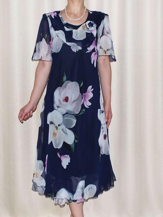 Rochie de vara din voal cu imprimeu si brosa - Victoria Bleumarin [0]