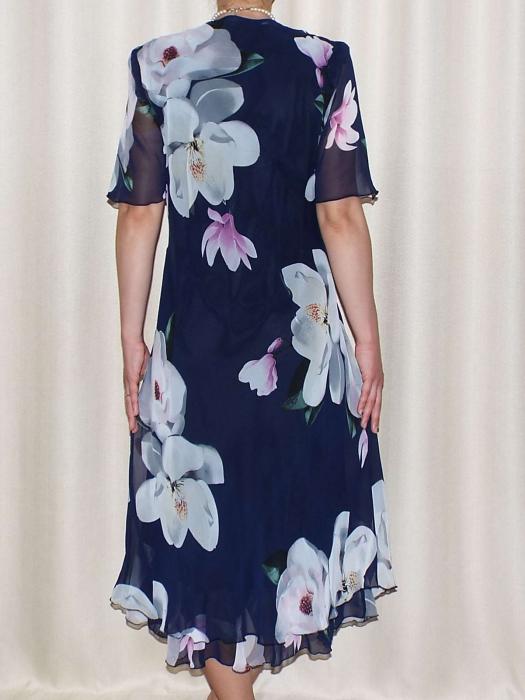 Rochie de vara din voal cu imprimeu si brosa - Victoria Bleumarin [1]