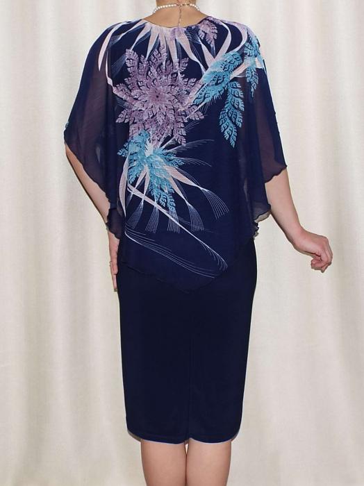 Rochie de vara din voal si vascoza elastica - Talia Bleumarin 1