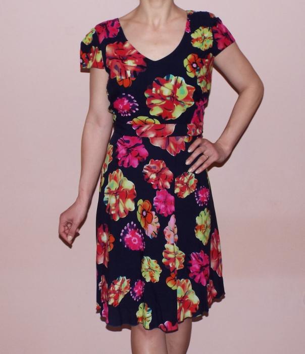 Rochie de zi bleumarin cu imprimeu floral - Claudia 0