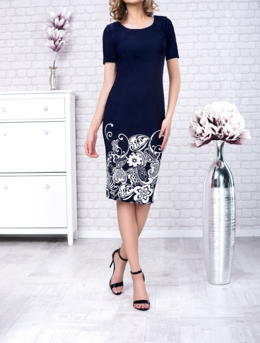 Rochie de zi bleumarin cu imprimeu floral - Gabriela 0