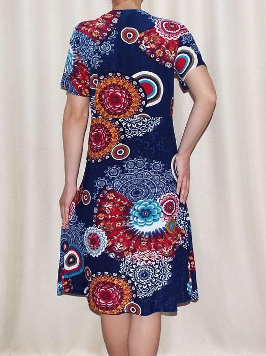Rochie de zi bleumarin cu imprimeu floral maxi - Miriam 3 2