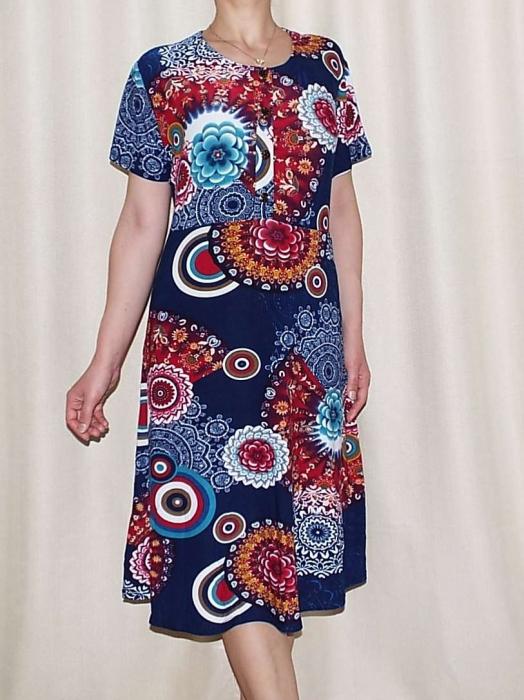 Rochie de zi bleumarin cu imprimeu floral maxi - Miriam 3 0