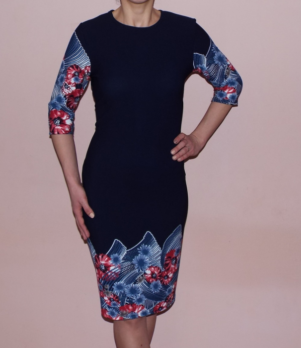Rochie de zi bleumarin cu imprimeu floral - Sara 0