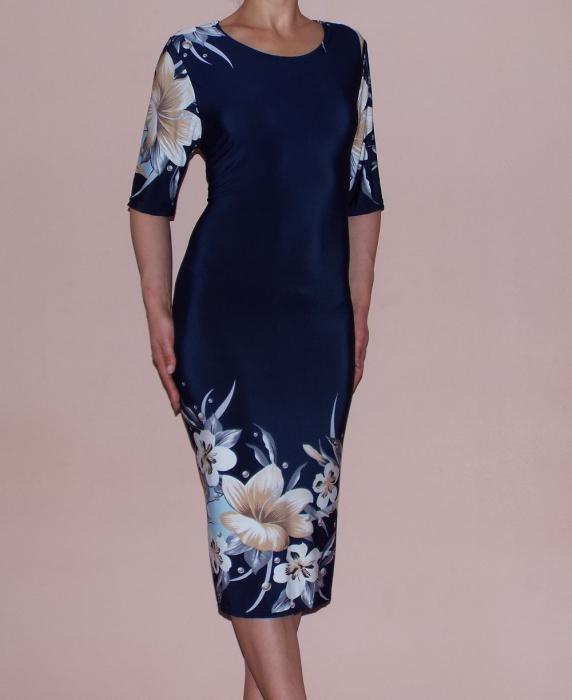 Rochie de zi bleumarin cu imprimeu si maneca scurta - Maria 0