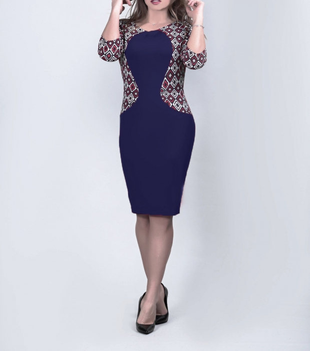 Rochie de zi bleumarin cu imprimeu si maneca trei sferturi - Eliana Bleumarin 0