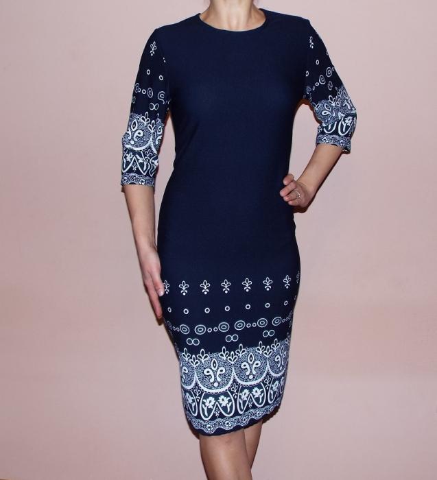 Rochie de zi bleumarin cu imprimeu si maneca trei sferturi - Lori 0