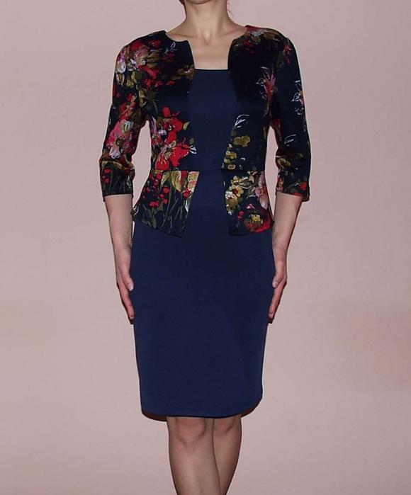 Rochie de zi bleumarin cu peplum si maneca trei sferturi – Irma Floral 0