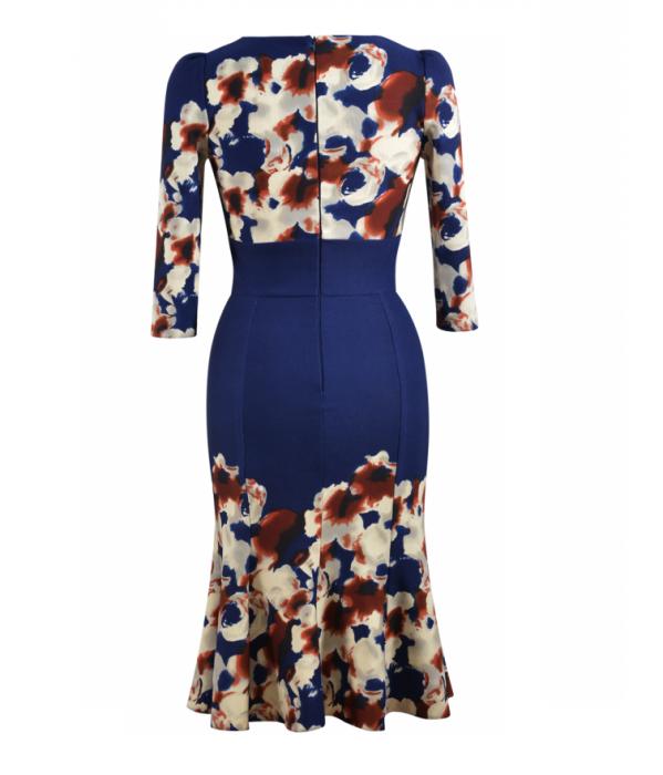 Rochie de zi cu clini si imprimeu floral - Georgiana Bleumarin 2