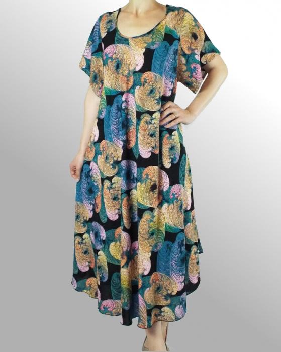 Rochie de zi cu croi lejer si imprimeu floral - Daniela Albastru 0