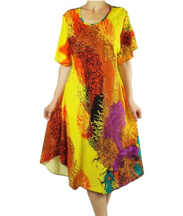 Rochie de zi cu croi lejer si imprimeu floral - Fabiana Galben [0]