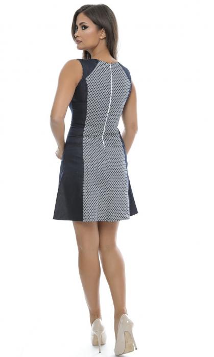 Rochie de zi cu imprimeu alb-bleumarin - R523 1