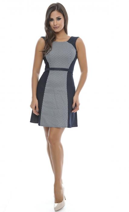 Rochie de zi cu imprimeu alb-bleumarin - R523 0