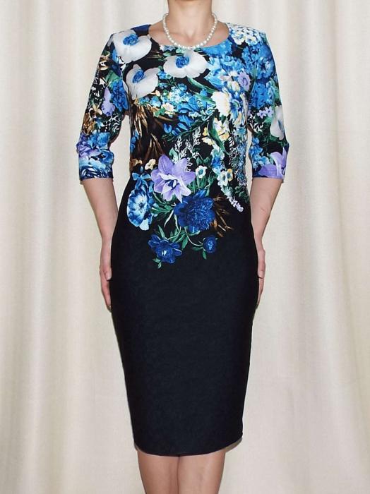 Rochie de zi cu imprimeu floral multicolor - Medana Albastru 0