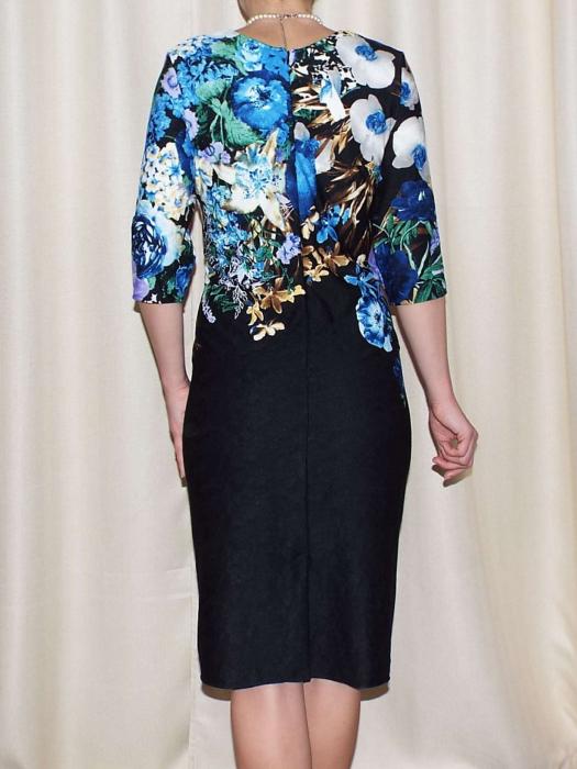 Rochie de zi cu imprimeu floral multicolor - Medana Albastru 1