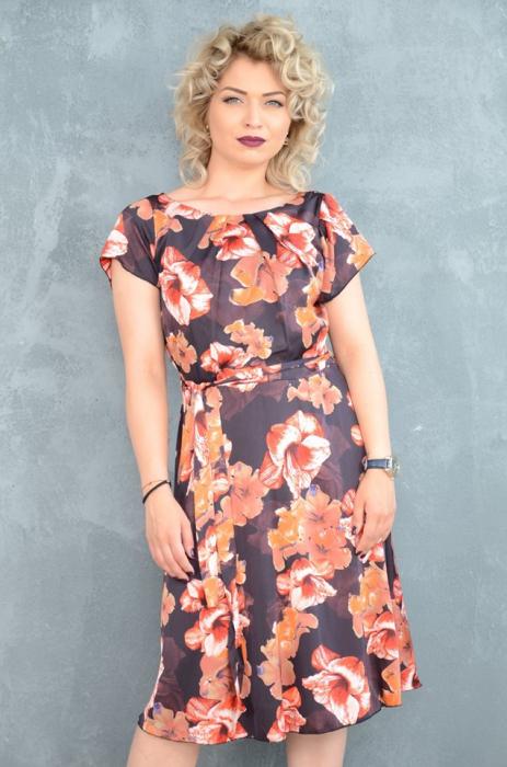 Rochie de zi cu imprimeu floral si cordon detasabil - Clara 0