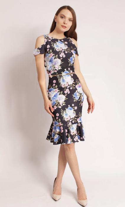 Rochie de zi cu imprimeu floral si decupaj la umeri - Zaira 0