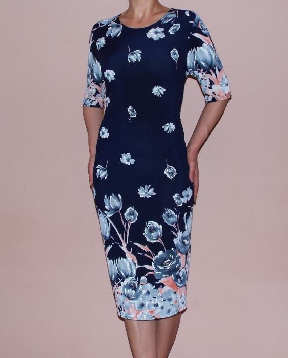 Rochie de zi cu imprimeu floral si maneca scurta - Anca 0