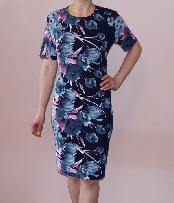 Rochie de zi cu imprimeu floral si maneca scurta - Bianca 0