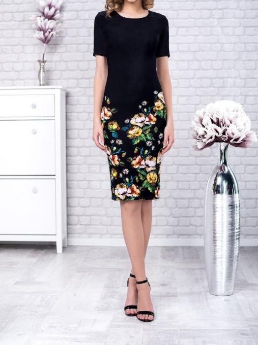 Rochie de zi cu imprimeu floral si maneca scurta - Gabriela Verde 0