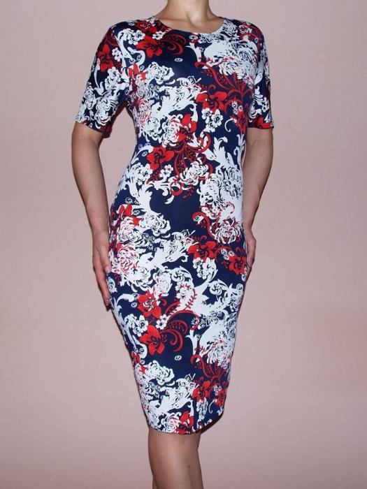 Rochie de zi cu imprimeu floral si maneca scurta - Lidia 0