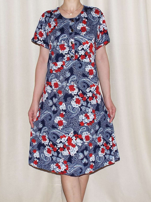 Rochie de zi cu imprimeu floral si maneca scurta - Miriam 1 0
