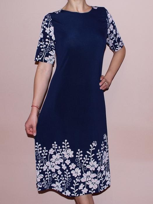 Rochie de zi cu imprimeu floral si maneca scurta- Roxana 0