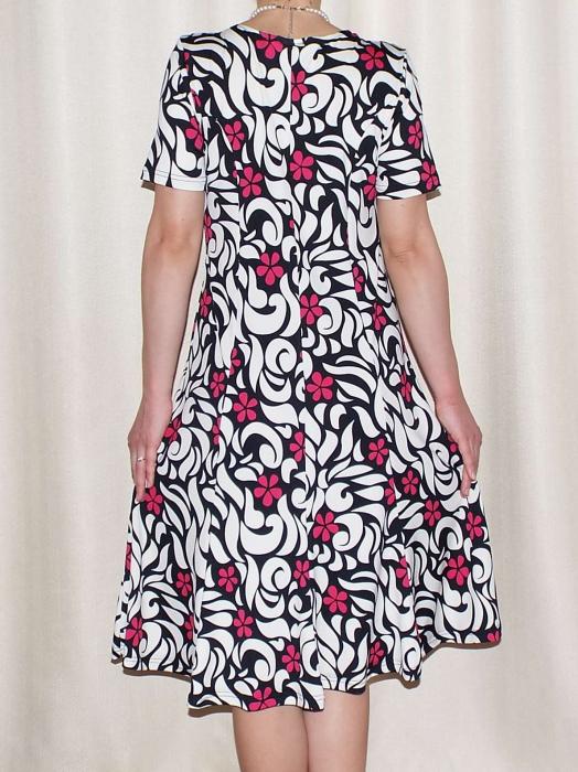 Rochie de zi cu imprimeu floral si maneca scurta - Vera Roz 1