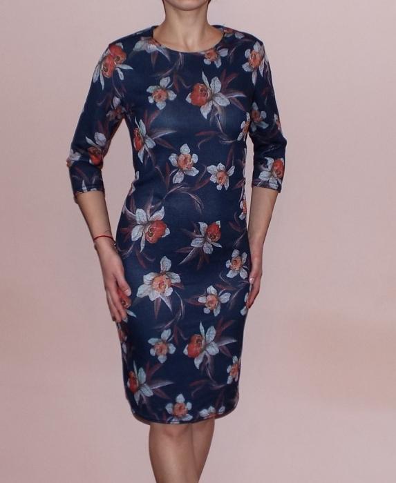 Rochie de zi cu imprimeu floral si maneca trei sferturi - Berta 0