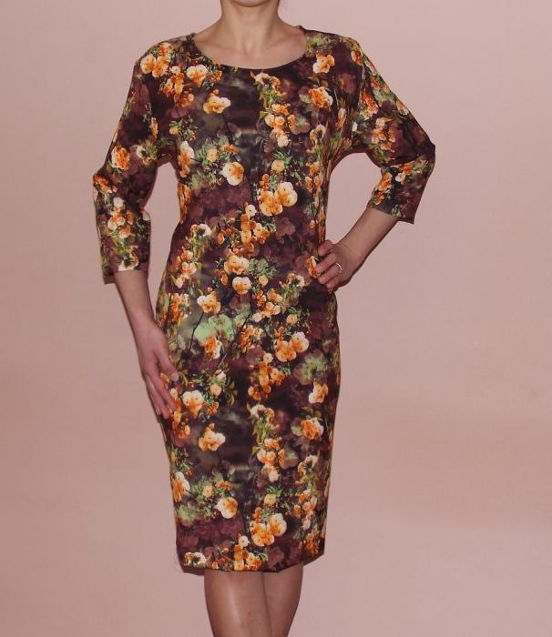 Rochie de zi cu imprimeu floral si maneca trei sferturi - Luana 0