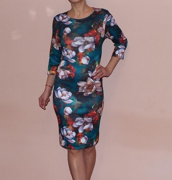 Rochie de zi cu imprimeu floral si maneca trei sferturi - Lucia Floral 0