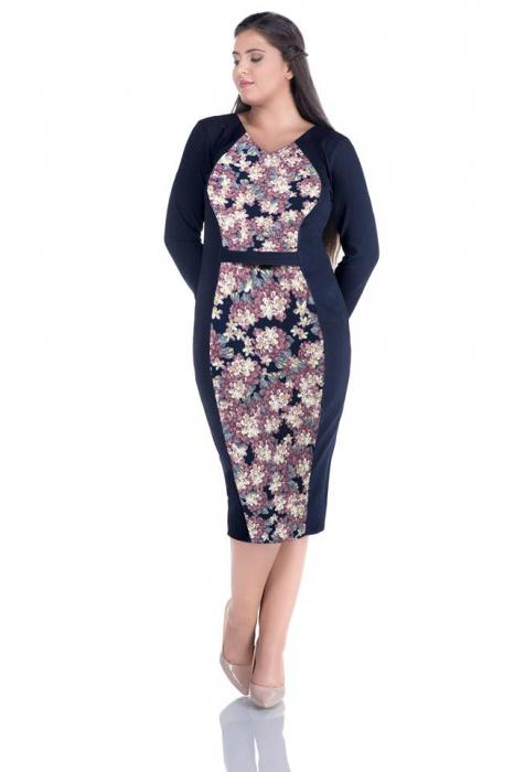 Rochie de zi cu imprimeu floral si maneca trei sferturi - Mara 0