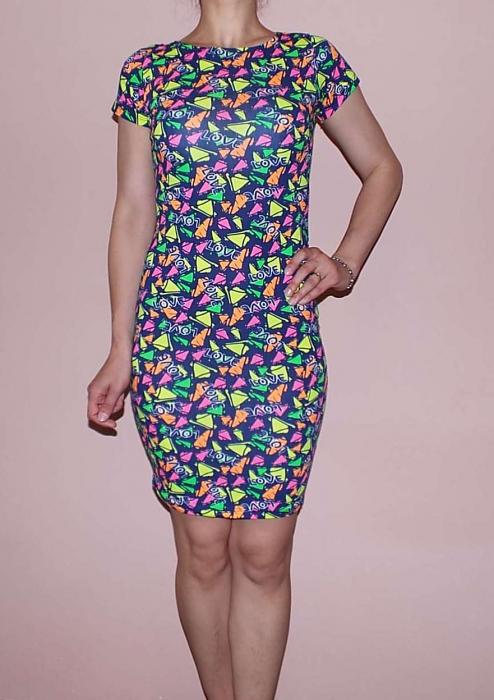 Rochie de zi cu imprimeu multicolor - RT003 [0]