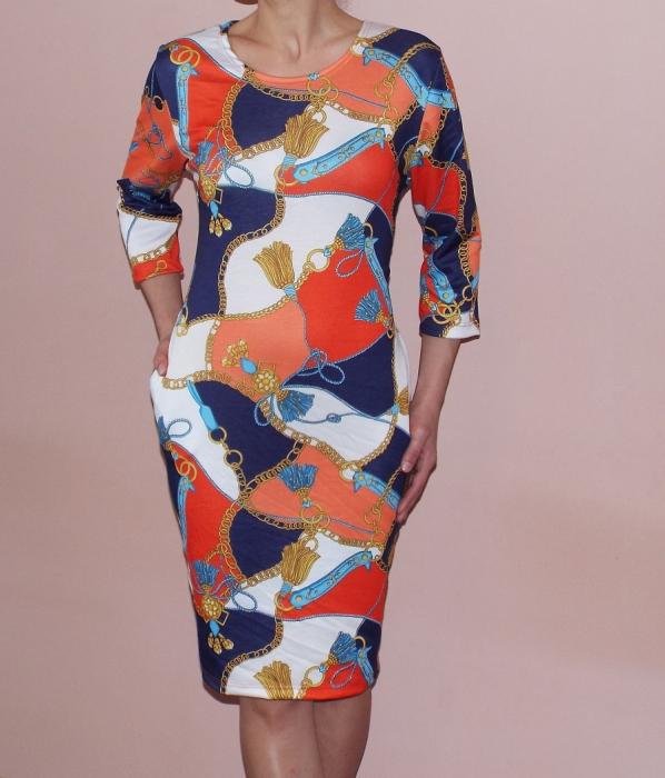 Rochie de zi cu imprimeu multicolor si buzunare - Iulia 0
