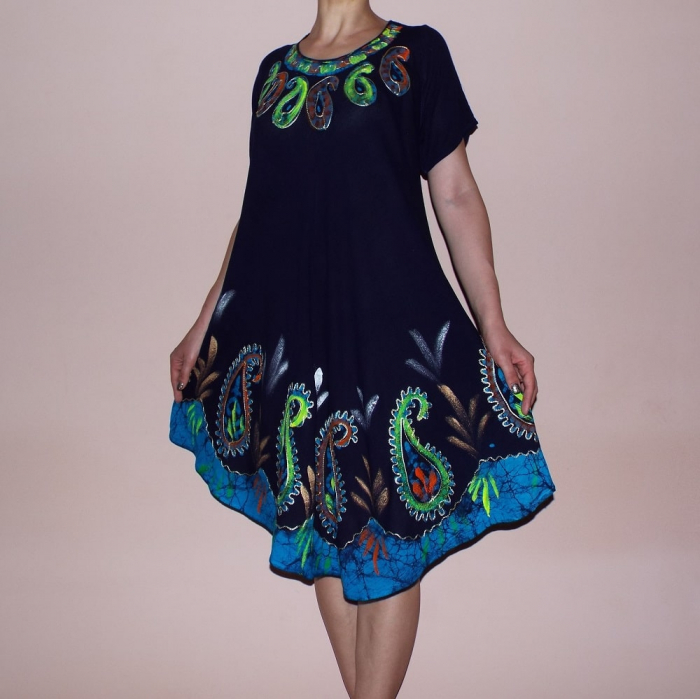 Rochie de zi cu imprimeu multicolor si maneca scurta - Olga 0