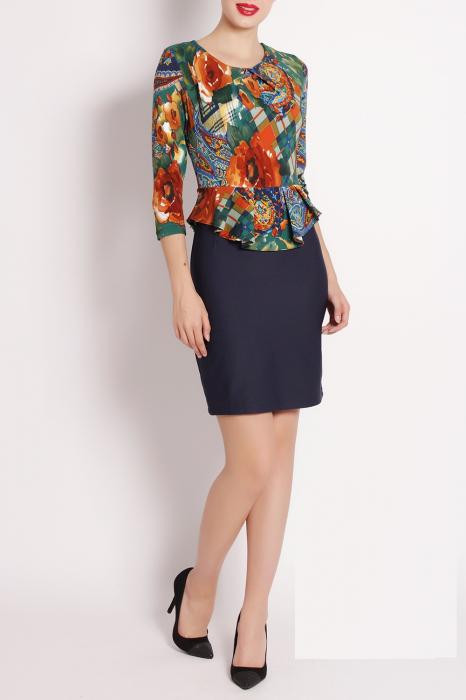 Rochie de zi cu imprimeu multicolor si maneca trei sferturi - Elena 0
