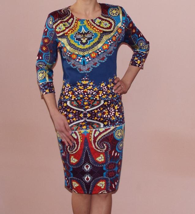 Rochie de zi cu imprimeu multicolor si maneca trei sferturi - Marina [0]
