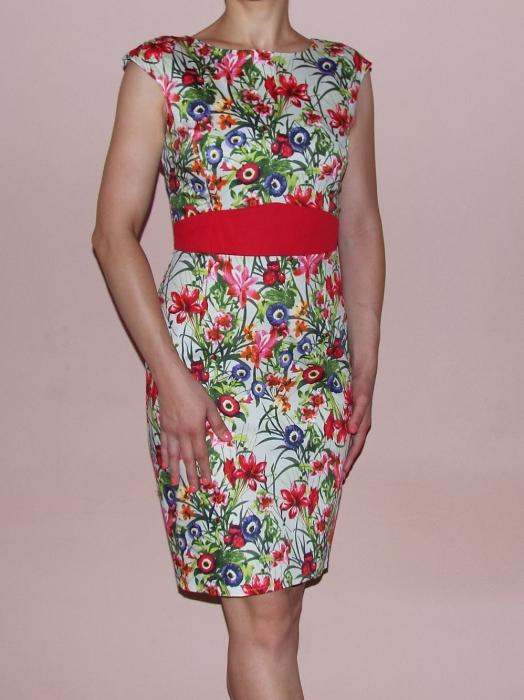 Rochie de zi cu imprimeu si banda rosie in talie - Miruna Floral 0