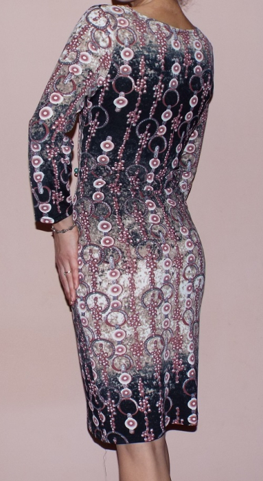 Rochie de zi cu imprimeu si maneca lunga- R311 1