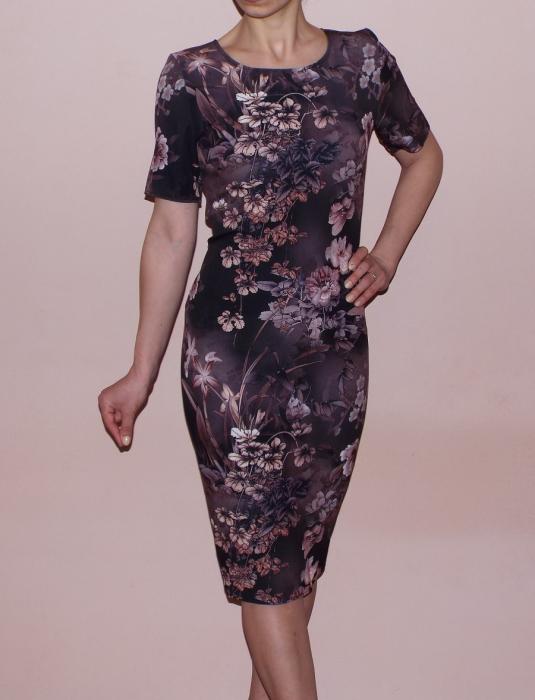Rochie de zi cu imprimeu si maneca scurta - Crina Maro [0]