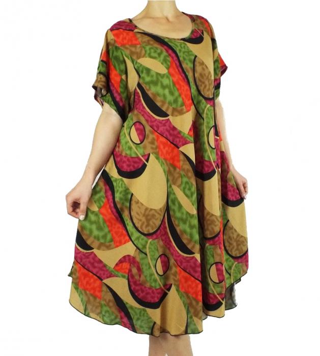 Rochie de zi cu imprimeu si maneca scurta - Fabiana Verde [0]