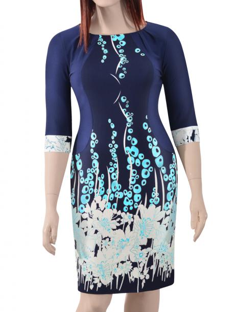 Rochie de zi cu imprimeu si maneca trei sferturi - Ada T 0