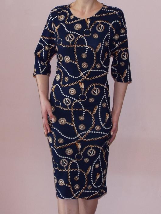 Rochie de zi cu imprimeu si maneca trei sferturi - Amalia Bleumarin 0