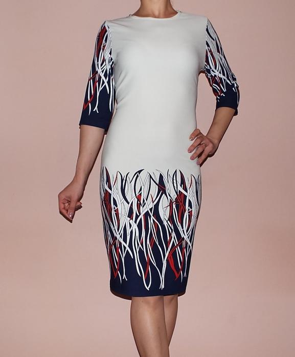 Rochie de zi cu imprimeu si maneca trei sferturi - Catalina [0]