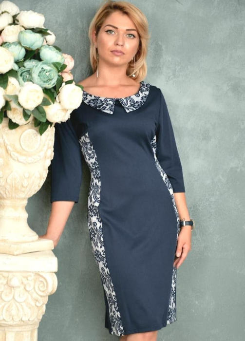 Rochie de zi cu imprimeu si maneca trei sferturi - Emilia Bleumarin 0