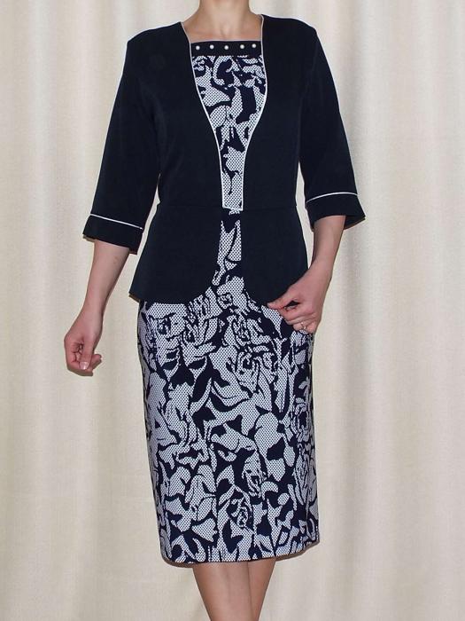 Rochie de zi cu imprimeu si maneca trei sferturi - Melisa Bleumarin 0