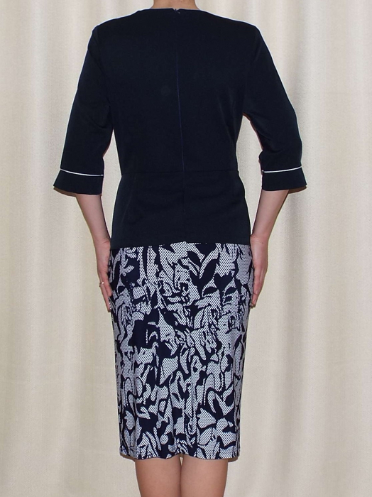 Rochie de zi cu imprimeu si maneca trei sferturi - Melisa Bleumarin 1