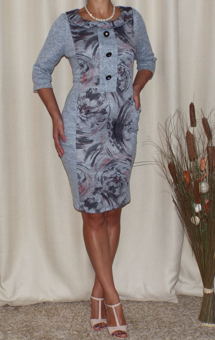 Rochie de zi cu imprimeu si maneca trei sferturi - Stefania Gri 1