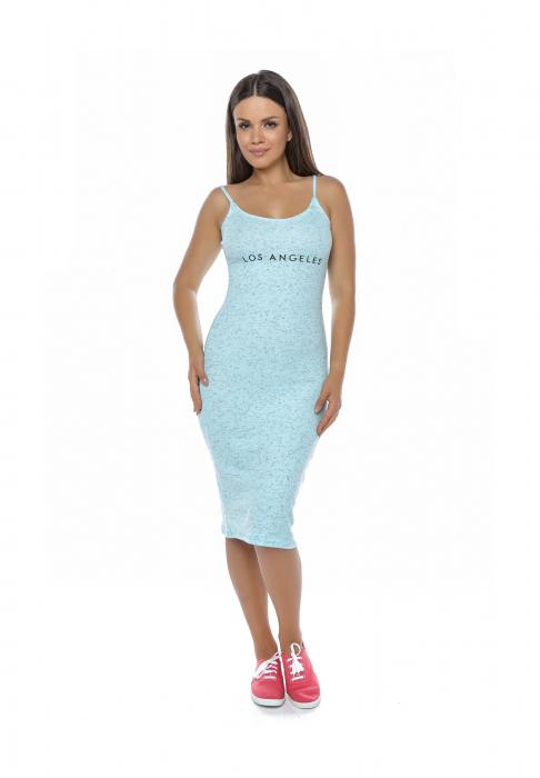 Rochie de zi din bumbac albastru cu bretele - R6292A 0