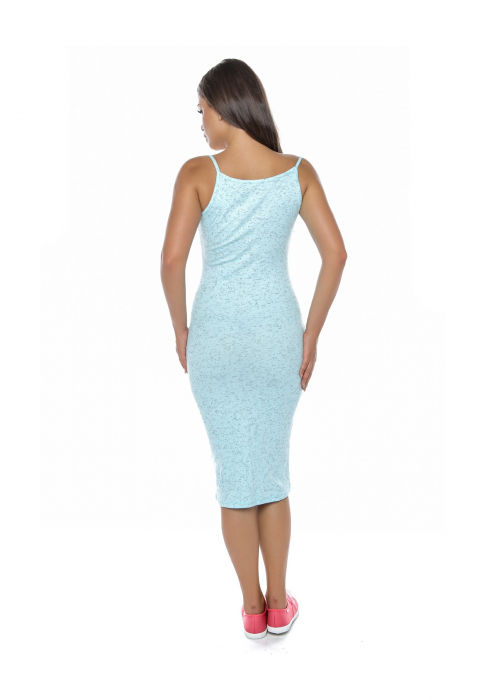 Rochie de zi din bumbac albastru cu bretele - R6292A 1